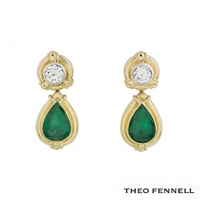 Theo Fennell 18k Yellow Gold Diamond and Emerald Drop Earrings 1.90 G/VS